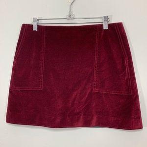 GAP | Red Burgundy Soft Velvet Mini Skirt